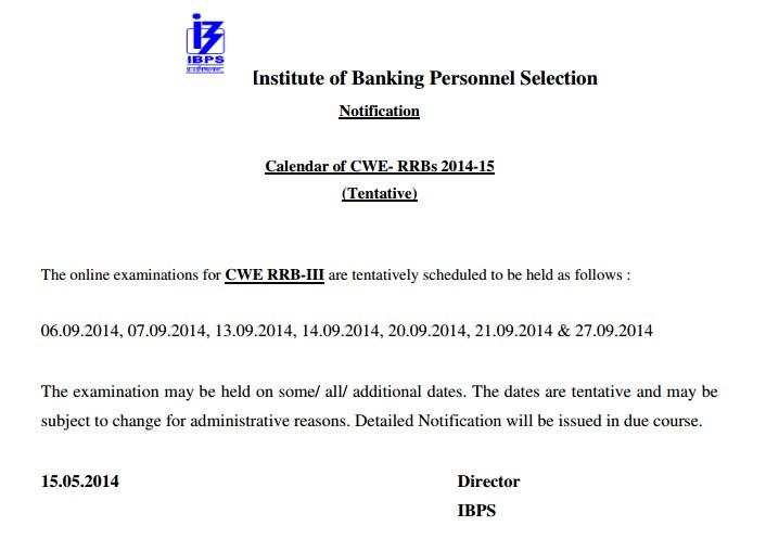 IBPS CWE RRB III Calendar