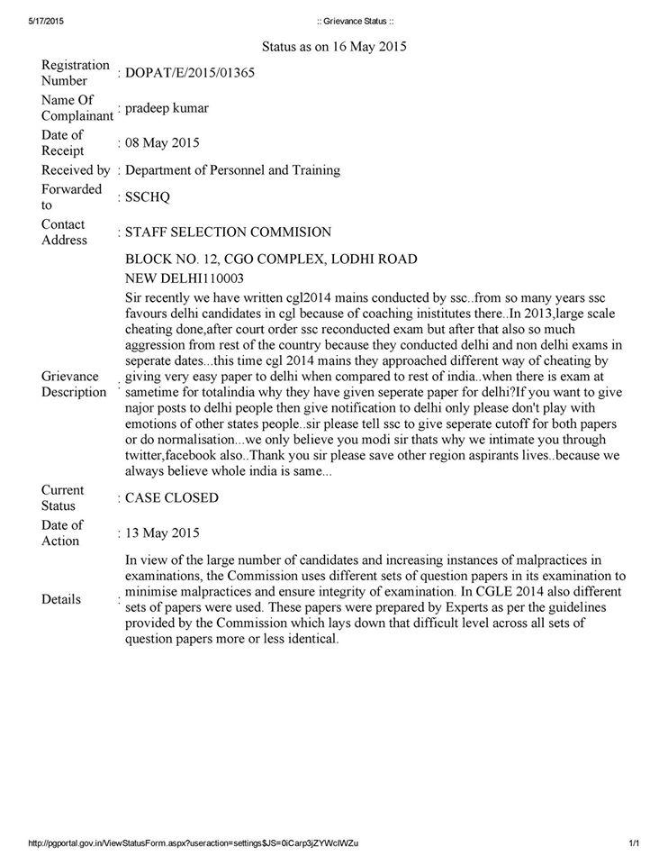 SSC CGL 2014 Normalization marks